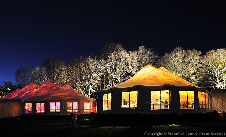 Sail Cloth Tents at Night