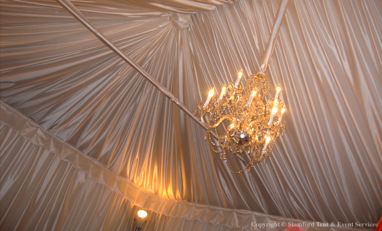 Draped White Fabric Soft Chandeliers Tent Decor
