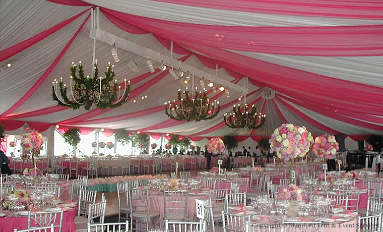 White Pink Tent Decor