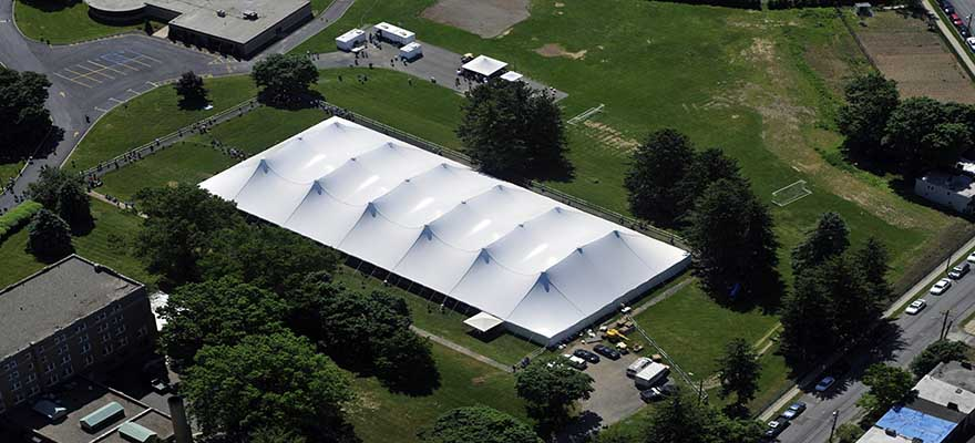 large tent aerial view