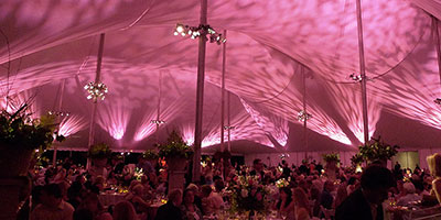 pink wedding tent interior